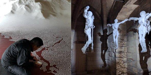 Des œuvres de Motoï Yamamoto (à gauche) et de Jean-Pierre Formica (à droite) à découvrir aux Tours et Remparts d'Aigues-Mortes (accès au site en cliquant sur l'image ci-dessus)